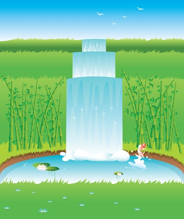 Garden with pond fish and bamboo -contains layers- Vector