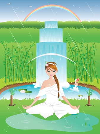 Woman practicing yoga outdoors on a rainy day -girl on separate layer- Vector