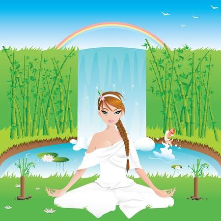 trenzado: Mujer que practica yoga al aire libre-vector contiene capas-