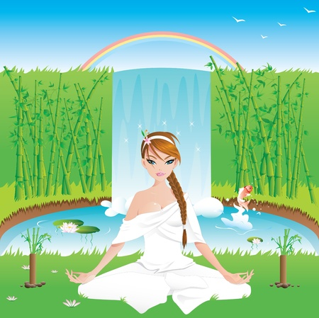 legged: Woman practicing yoga outdoors -vector contains layers-