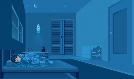 insomnio: Miedo infantil ver monster en sombra.