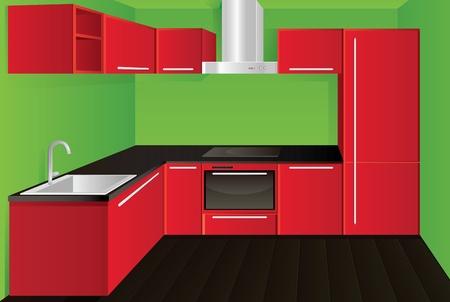lavabo: Original dise�o moderno cocina roja Vectores