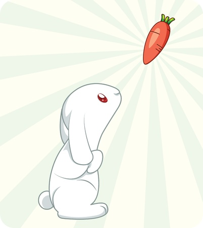 rabbit ears: Cute white rabbit with carrot