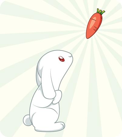 liebre: Lindo conejo blanco con zanahoria