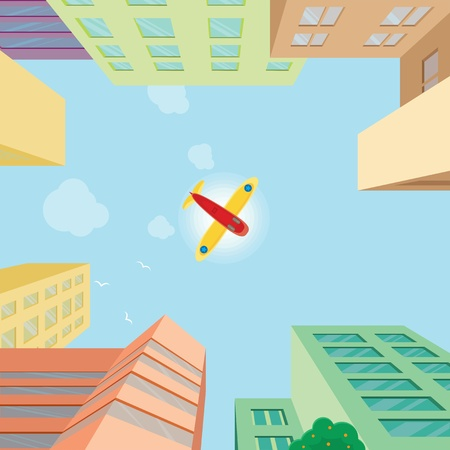 Airplane flying over the city  Illustration