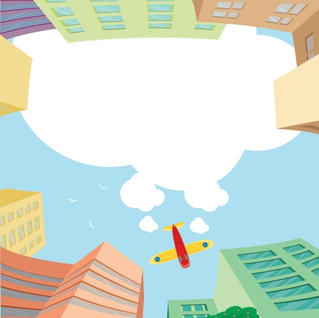 Airplane flying over the city and white space for message Vector