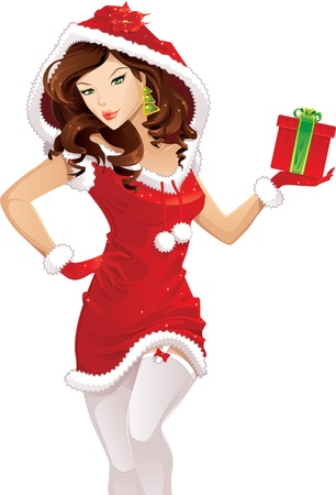 pinup: Santa girl with christmas gift isolated on white Illustration