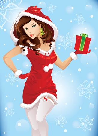 Santa girl with christmas gift Stock Vector - 11141979