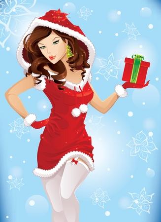 white stockings: Santa girl with christmas gift