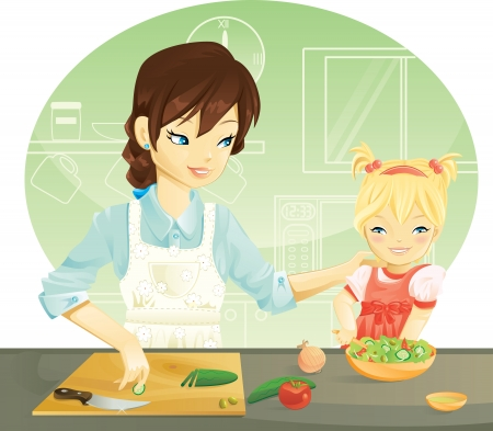 Family cooking Vector