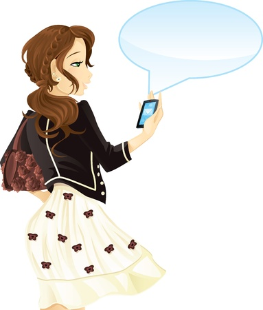 smart phone woman: Girl with mobile phone and text message