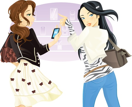 smart phone woman: Buying phone Illustration
