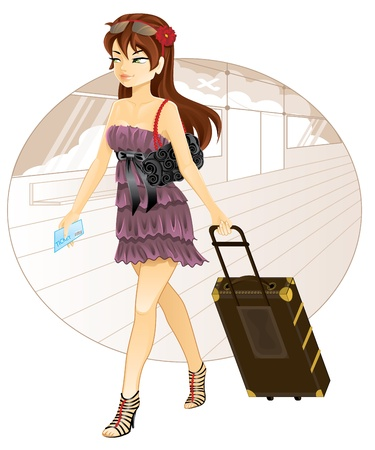 Travel girl - Beautiful woman with luggage traveling Vector