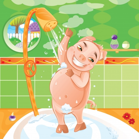 tomando: Pig taking a morning shower - Happy animal washing in bath Ilustra��o