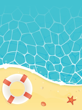 Beach and sea with life buoy starfish and shell Vector