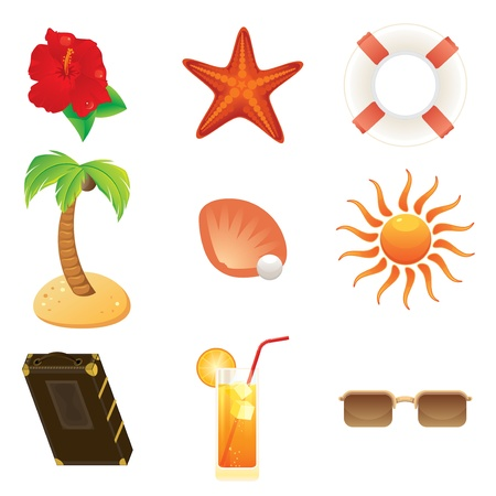 Summer icons set - Set of detailed beach and travel icon  Illustration