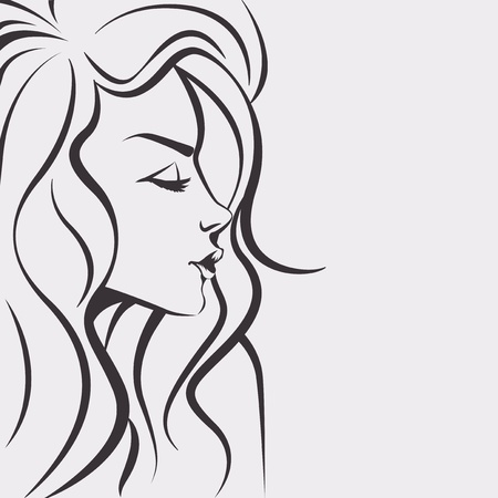 hair: Sketch woman - Day dreaming girl with long hair Illustration