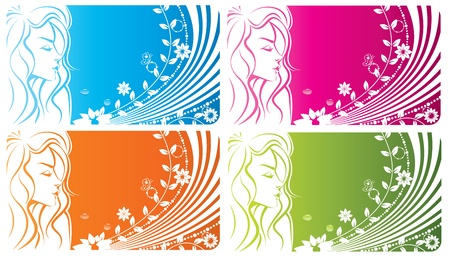 Floral girl - abstract spring woman background with flowers  Illustration