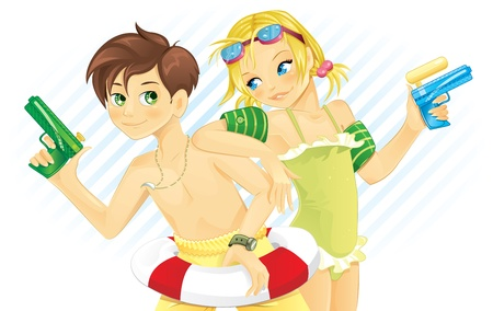 naughty child: Boy and girl playing with water gun in summer Illustration