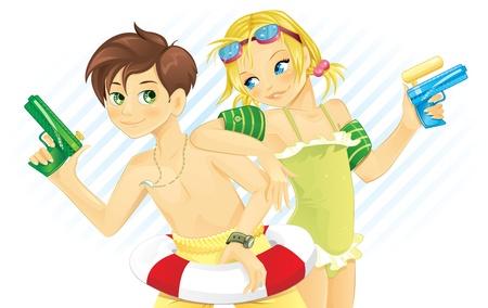 enfant maillot de bain: Garçon et fille jouer avec pistolet à eau en été