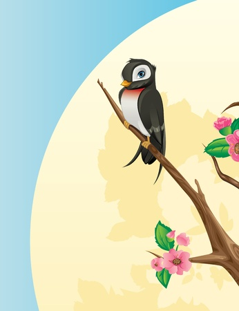 Spring Concept - Swallow bird on a cherry tree branch Vector