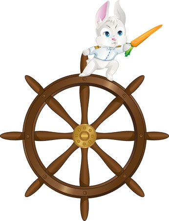 Cute bunny on a helm pointing with carrot  Stock Vector - 12959280