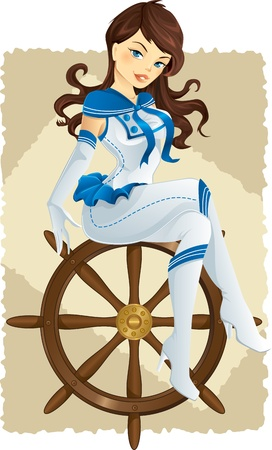 pinup sailor girl on a helm Illustration