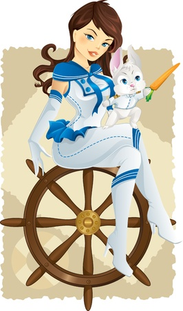 pinup: Cute bunny on a helm pointing with carrot and his crew Illustration