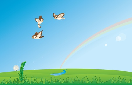 Sparrows flying over the spring field Vector