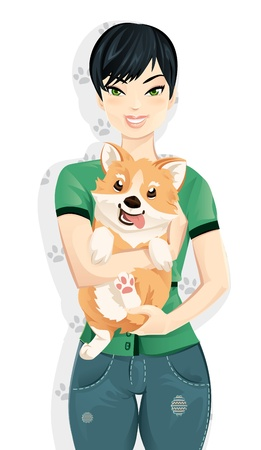 pembroke: Young woman hugging her cute corgi dog