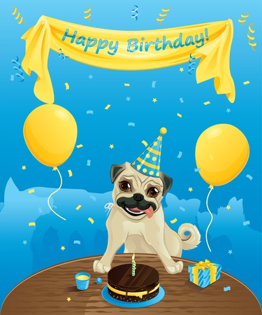 pug dog: Funny birthday card