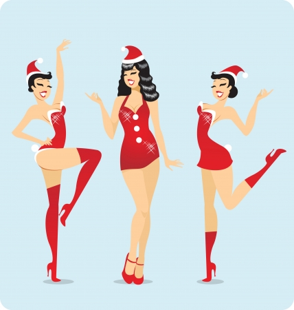 pin up: Sexy dancers dressed as Santas