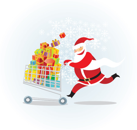 Santa on a shopping spree Vector