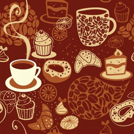 コーヒーカップ: コーヒーのシームレスなパターン  イラスト・ベクター素材