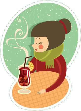 Girl enjoying hot wine in winter cafe Vector