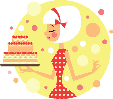 Girl holding big party cake Vector
