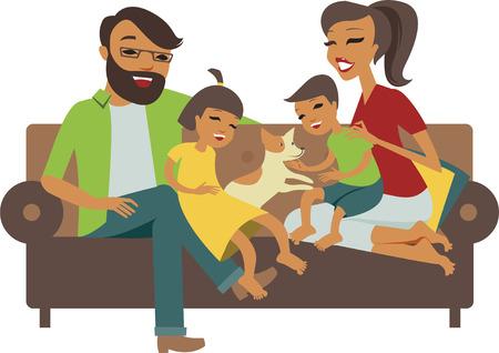 perro familia: Familia joven con hijo e hija juntos Vectores