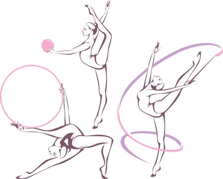 Creative set of gymnastic girl vector illustration Vettoriali