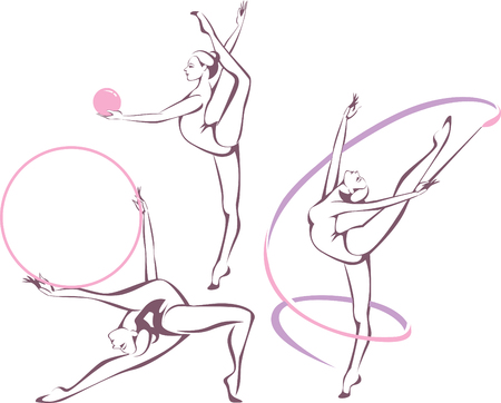 rhythmic gymnastic: Creative set of gymnastic girl vector illustration Illustration