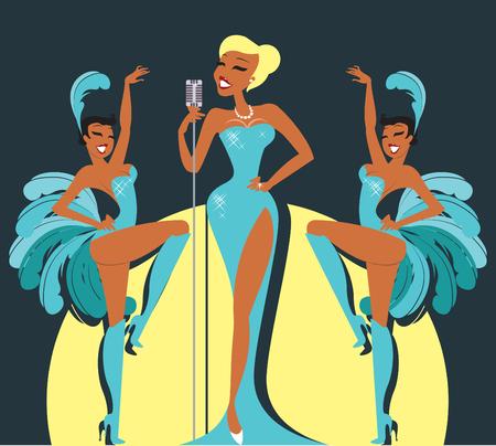 Cabaretier op een podium met sexy showgirls