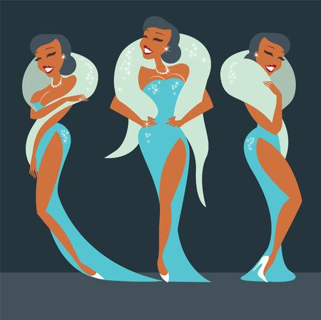 soir�e: Trois brillants belles �toiles burlesques en robe de soir�e Illustration