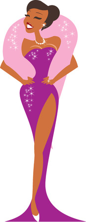Shining beautiful burlesque star in evening gown Illustration