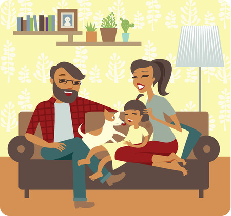 Young family playing with baby girl  In New Home