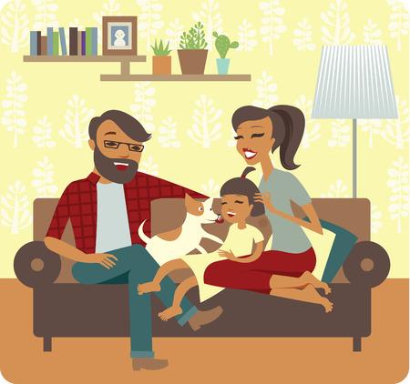 Jeune famille en jouant avec bébé En Nouvelle-Accueil Banque d'images - 46488128