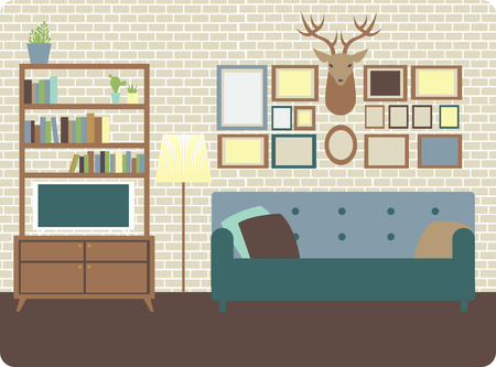 living room wall: Cozy living room interior with loft style wall and decorations