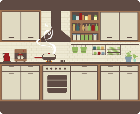 inventario: Interior de la cocina con muebles de la decoraci�n de ladrillo y el inventario