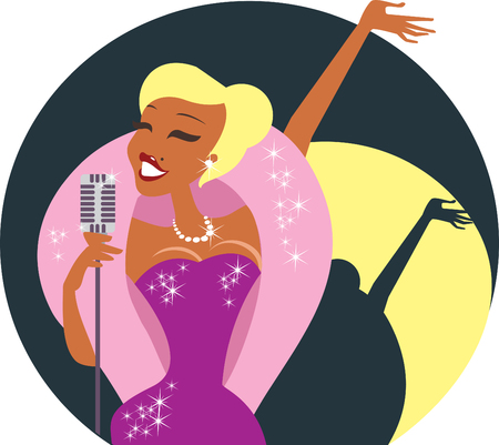 Beautiful sexy cabaret singer with retro microphone  イラスト・ベクター素材