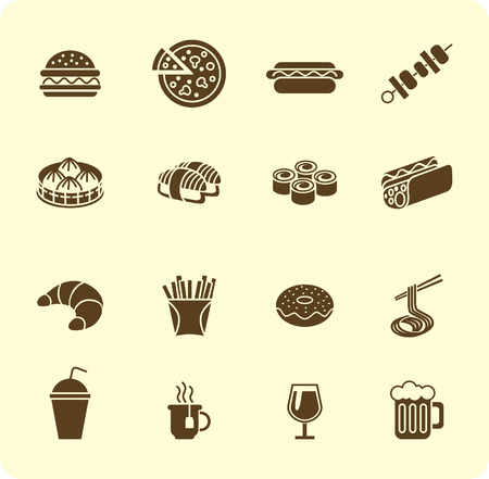 fast food: Various fast food and drink icon silhouette set