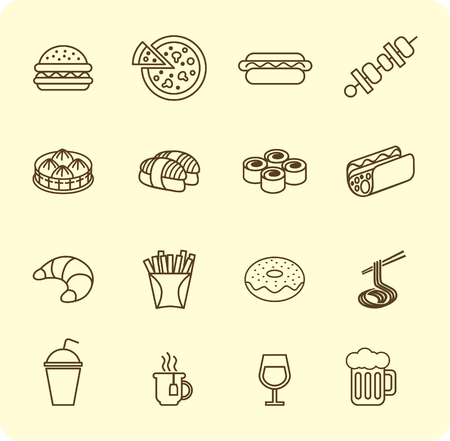 food icon: Various fast food and drink icon lined set
