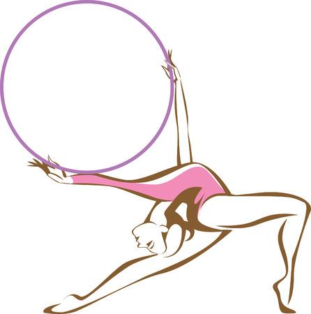 Rhytmic gymnast with a hoop linear vector Çizim